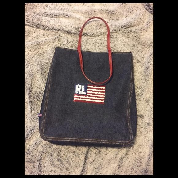 0f97c236ff ... Ralph Lauren denim bag w  sequin flag. M 5a57d29946aa7c556d02f13b